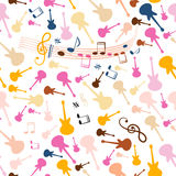 Seamless Music Background. Vector Stave Seamless Pattern with Retro Colorful Guitars. Cover Design Notes and Staff Seamless Illustration on White Background Stock Photo