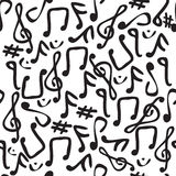 Seamless Music Note Tile. Seamless and fully repeatable illustrated pattern with various music symbols Royalty Free Stock Images
