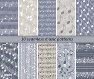 10 seamless music patterns Stock Photography