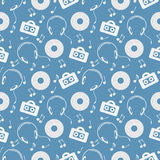 Seamless music vector pattern, chaotic background with music player, headphones, notes, record, over blue backdrop Stock Images