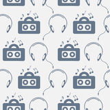 Seamless music vector pattern, chaotic background with music player, headphones, notes, record, over light backdrop Royalty Free Stock Photos