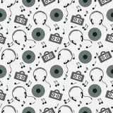 Seamless music vector pattern, chaotic background with music player, headphones, notes, record, over light backdrop Royalty Free Stock Photo
