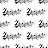 Seamless musical composition with music notes Stock Photo