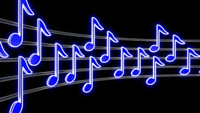 Seamless musical loop - shiny blue notes Stock Photo