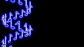 Seamless musical loop - shiny blue notes. 3D render stock video footage