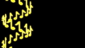 Seamless musical loop - shiny yellow notes. 3D render stock footage