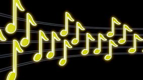 Seamless musical loop - yellow notes. 3D render stock footage
