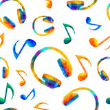 Seamless musical pattern - notes, headphones royalty free illustration