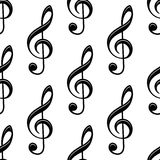 Seamless musical treble clef pattern Stock Photos