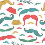 Seamless mustache pattern Stock Photos