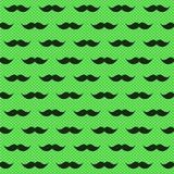 Seamless Mustache Polka Dots Pattern. Green hipster moustaches polka dots background. Fathers day seamless tile Royalty Free Stock Photos