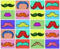 Seamless Mustaches pattern. Seamless very colorful funny Mustaches pattern background Stock Photo