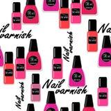 Seamless nail varnish polish pattern fashion. Background Stock Images