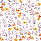 Seamless naive floral background. Cute flowers, leaves, butterflies. Watercolour Stock Photography