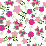 Seamless naive floral vector repeat background Stock Photos