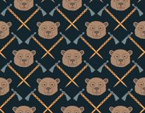 Seamless Native American pattern with bears and axes Royalty Free Stock Photo