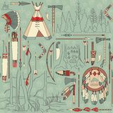Seamless Native American pattern with forest lands stock illustration