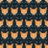Seamless Native American pattern with foxes and arrows Royalty Free Stock Images