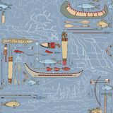 Seamless Native American pattern with river landsc Royalty Free Stock Image