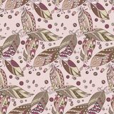Seamless native  pattern with feathers and beads in vector graph. Ic illustration in native tribal style in pastel colors Stock Photography
