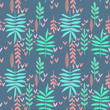 Seamless nature background. Hand-drawn bright leaf pattern, vintage floral texture vector illustration
