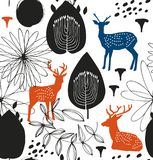 Seamless nature pattern with deers. Forest silhouette background. Vector texture. Royalty Free Stock Image