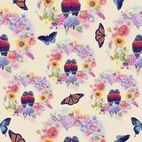 Seamless  nature pattern. With flowers,birds and butterflies . Endless texture for your design Royalty Free Stock Photos