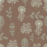 Seamless nature pattern with graphic brunch and. Flower.  Hand drawing leavs vector illustration Stock Photos