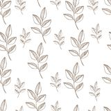 Seamless nature pattern with graphic brunch.  Hand. Drawing leaf vector illustration Royalty Free Stock Images