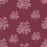 Seamless nature pattern with graphic brunch.  Hand Royalty Free Stock Photo