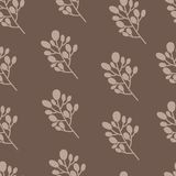 Seamless nature pattern with graphic brunch.  Hand. Seamless nature pattern with graphic brunch. Hand drawing leavs vector illustration Royalty Free Stock Image