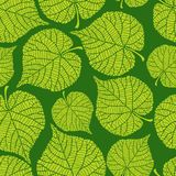 Seamless nature pattern with green leaves stock illustration
