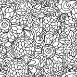Seamless nature pattern with line flowers for Royalty Free Stock Photo