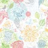 Seamless nature pattern. Ornate bright background with flowers, butterflies and birds Stock Image