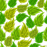 Seamless nature pattern with stylized green leaves Stock Photos