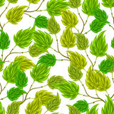 Seamless nature pattern with stylized green leaves Stock Images