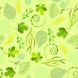 Seamless nature pattern with stylized green leaves. Nature illustration vector illustration