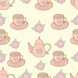 Seamless nature pattern teapot and cup shabby chic Stock Photography
