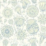Seamless nature pattern. Vintage flowers on light background. Vector illustration Royalty Free Stock Photography