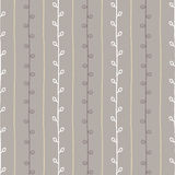 Seamless nature sketch vector pattern. Grey and white line twig background. Hand drawn autumn texture. Illustration Vector Illustration