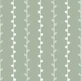 Seamless nature sketch vector pattern. White twigs on green background. Hand drawn texture illustration Royalty Free Stock Images