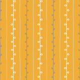 Seamless nature sketch vector pattern. Yellow beige and white twigs background. Hand drawn summer texture illustration Royalty Free Stock Image