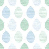 Seamless nature vector pattern. Blue and green leaves with lines on white background. Hand drawn fabric ornament. Seamless nature vector pattern. Blue and green stock illustration