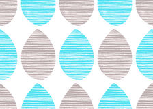 Seamless nature vector pattern. Bright grey and blue leaves with lines on white background. Hand drawn abstract ornament Royalty Free Stock Image