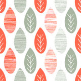 Seamless nature vector pattern. Orange and green leaves with lines and twigs on white background. Hand drawn autumn ornament Stock Photos