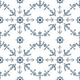 Seamless nautical background with anchors and ship wheels. Sea hand drawn seamless pattern. Royalty Free Stock Image