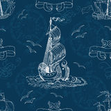 Seamless nautical background with old sailing ships, compass and gulls. On blue. Endless vector illustrations with vintage adventures and old transportation Stock Photos