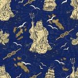 Seamless nautical background with Poseidon, ship and sea symbols Royalty Free Stock Photo
