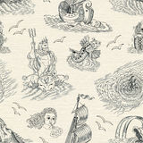 Seamless nautical background with sea mythological creatures and vintage ship Royalty Free Stock Photo