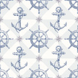 Seamless Nautical Background With Hand Drawn Eleme Stock Photography